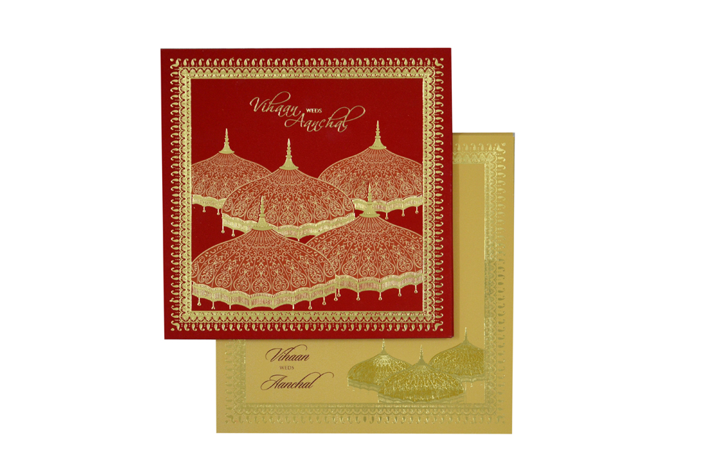 Red Umbrella Theme Wedding Card MCC 8854