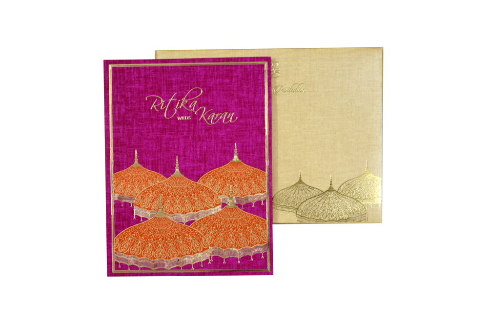 Pink Umbrella Theme Wedding Card MCC 8856