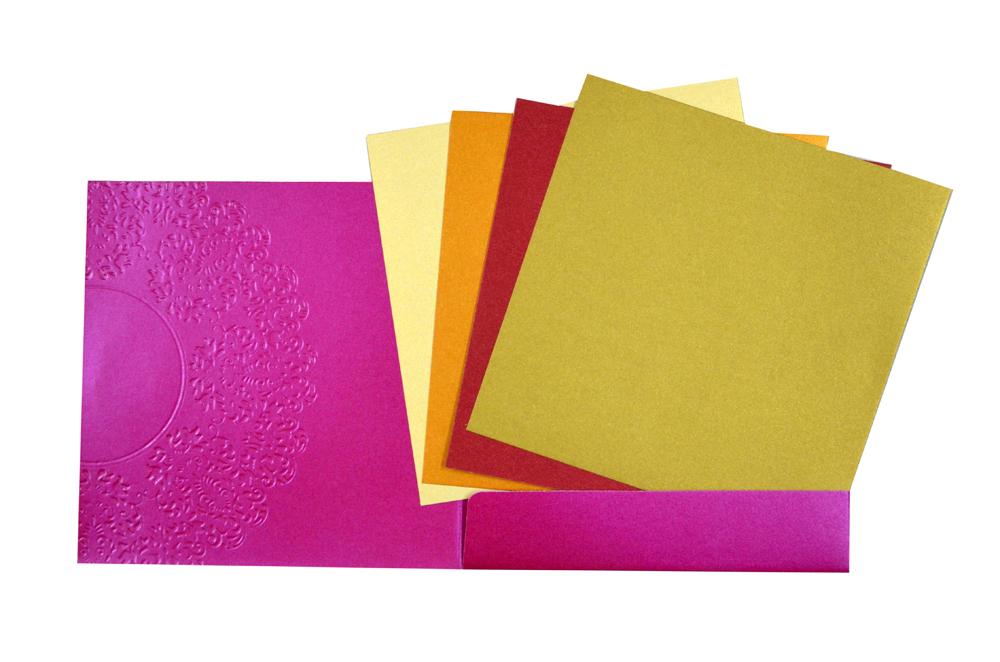 Pink Hindu Budget Wedding Card PN 8414