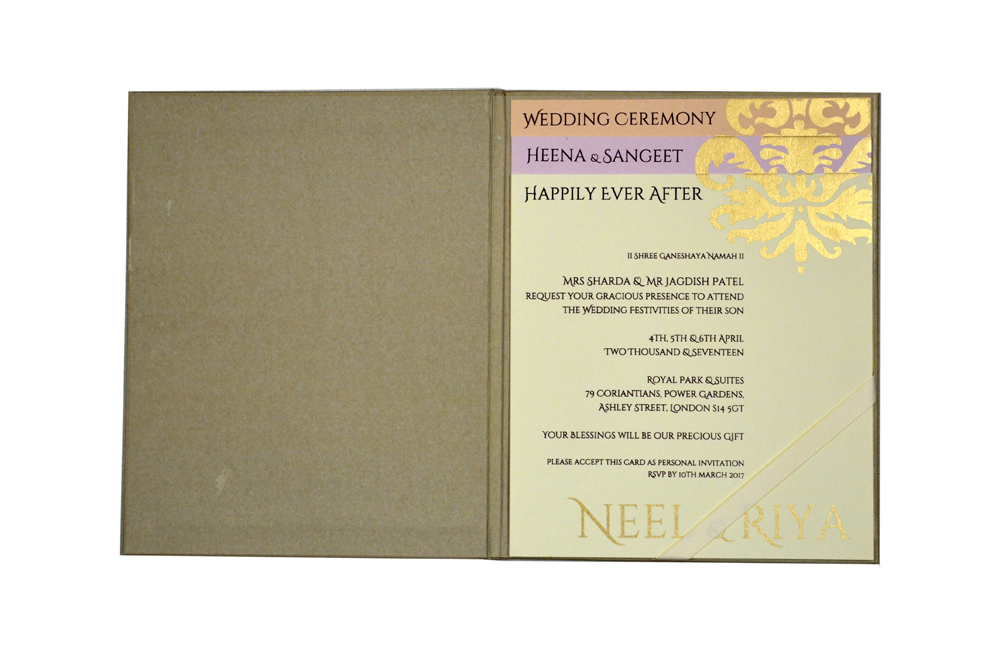 Grey Designer Padded Wedding Card PN 8417