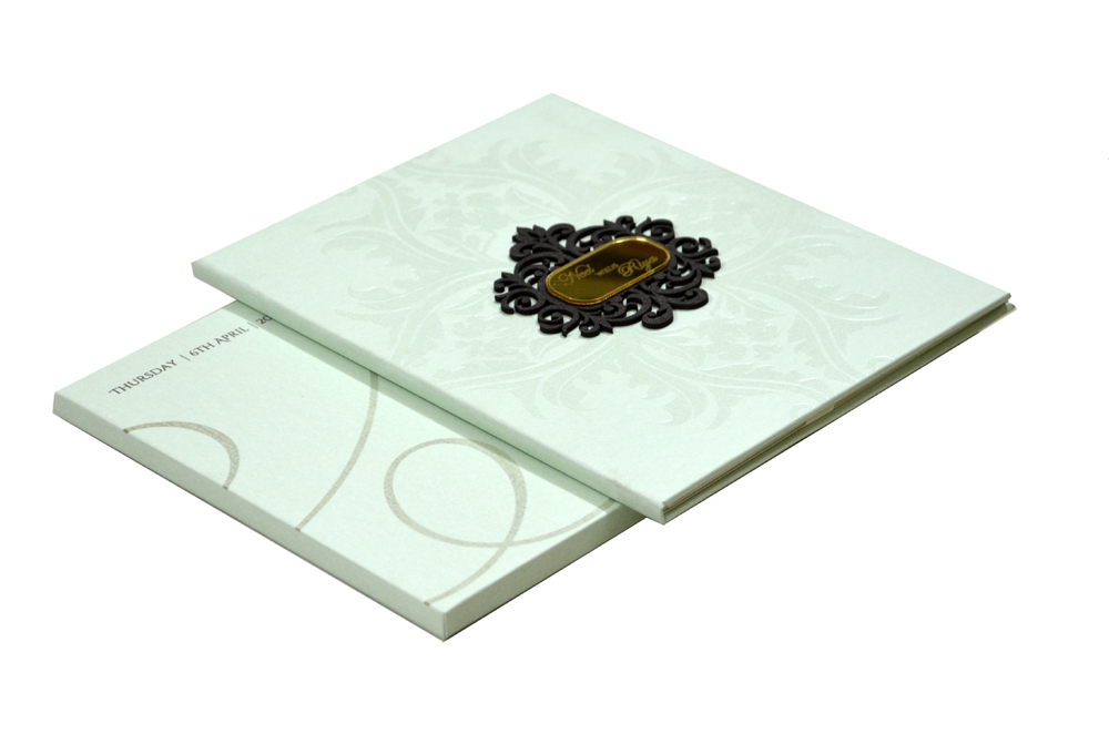 Green Designer Padded Wedding Card PN 8418
