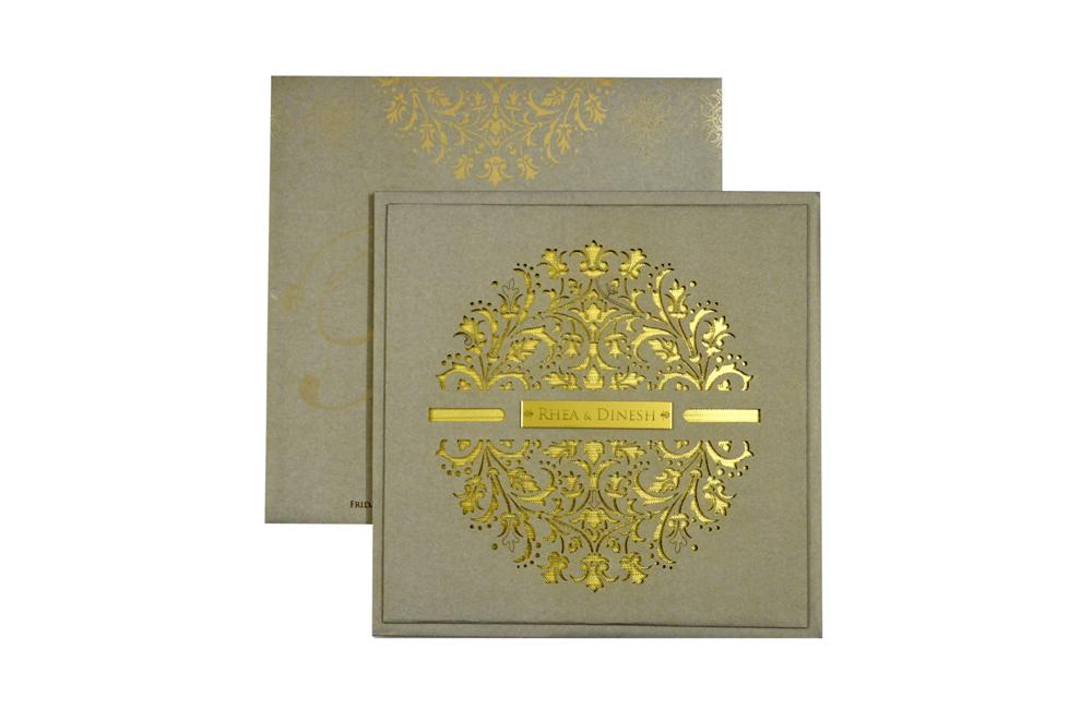 Grey Laser Exclusive Wedding Card Design PN 8535