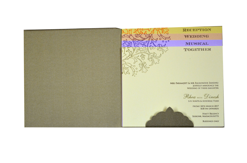 Grey Laser Exclusive Wedding Card Design PN 8535