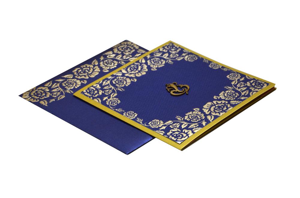 Blue Budget Hindu Wedding Card PN 8597