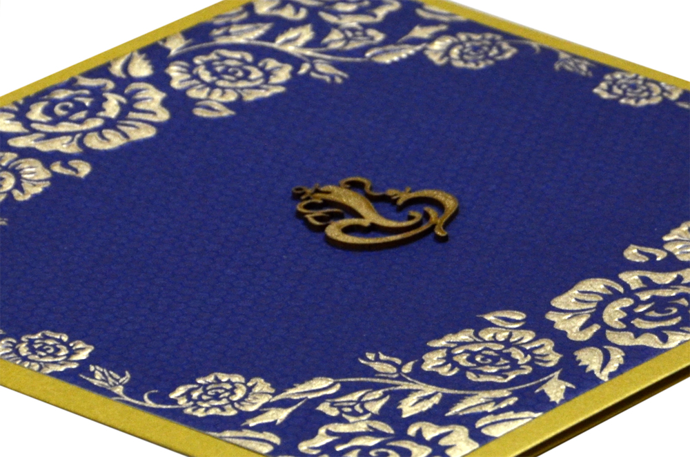 Blue Budget Hindu Wedding Card PN 8597