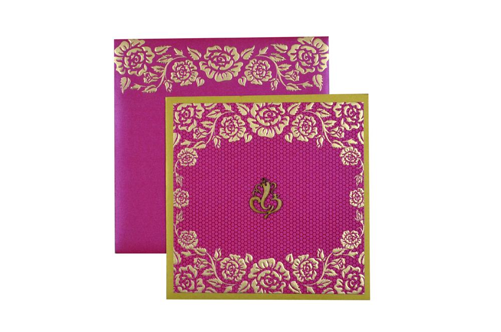 Pink Budget Hindu Wedding Card PN 8598