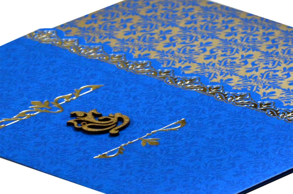 Blue Budget Hindu Wedding Card PN 8616