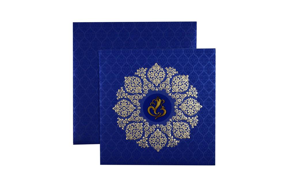 Blue Hindu Wedding Card PN 8624