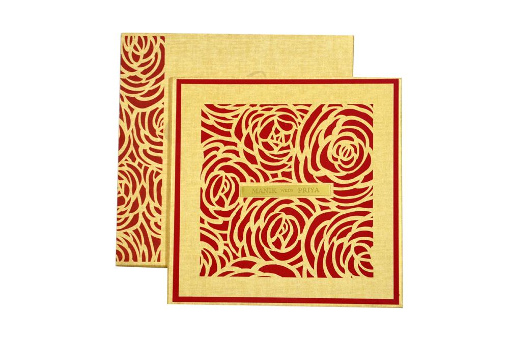 Rose Shaped Laser Cut Designer Wedding Card PN 8637