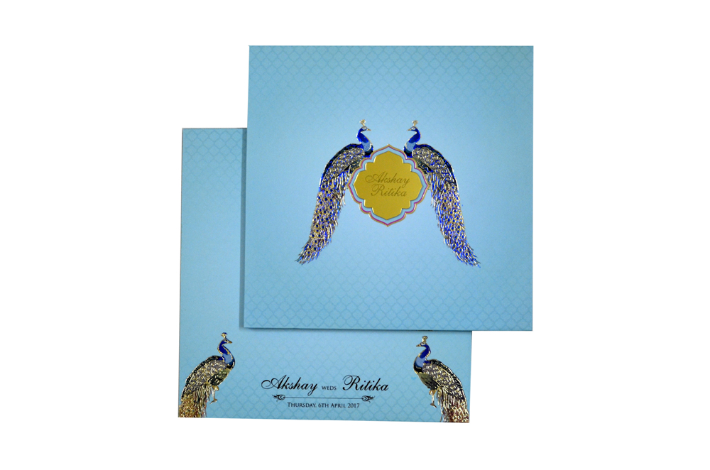 Peacock Theme Designer Wedding Card PN 8640