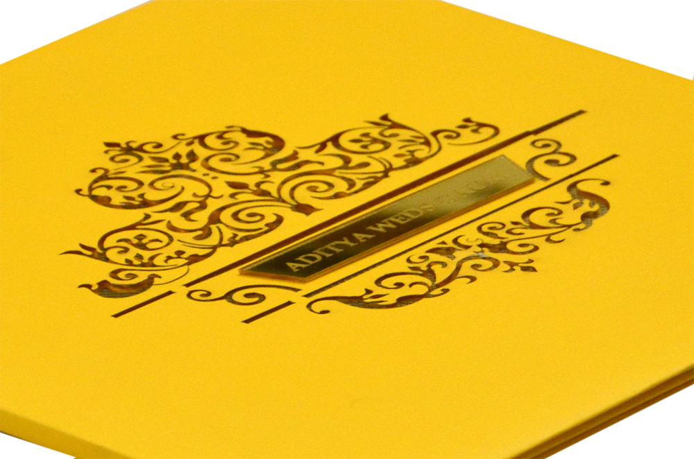 Yellow Laser Cut Wedding Card PN 8671