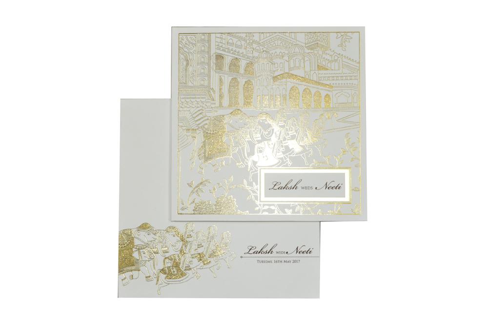 Baraat Theme White Wedding Card PN 8720