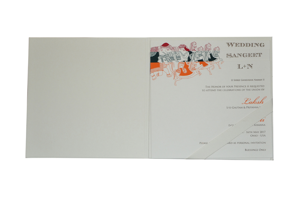 Baraat Theme White Wedding Card PN 8720