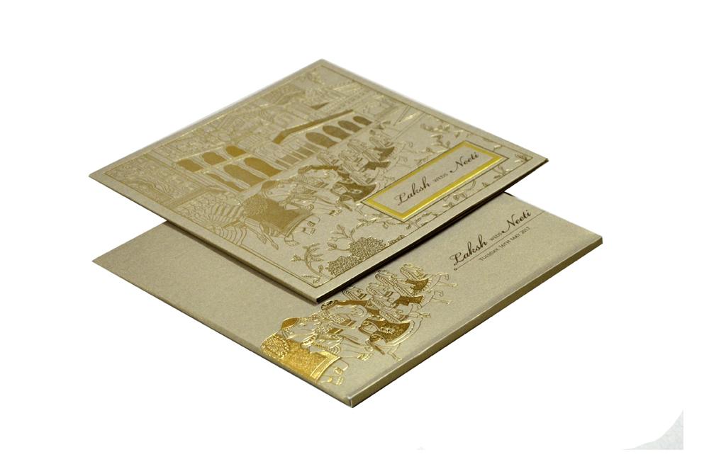 Baraat Theme Grey Wedding Card PN 8721