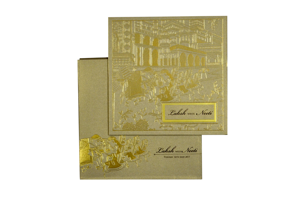 Baraat Theme Grey Wedding Card PN 8721