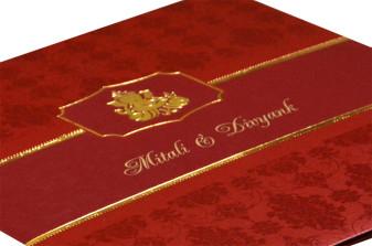 Red Hindu Budget Wedding Card Design PR 405
