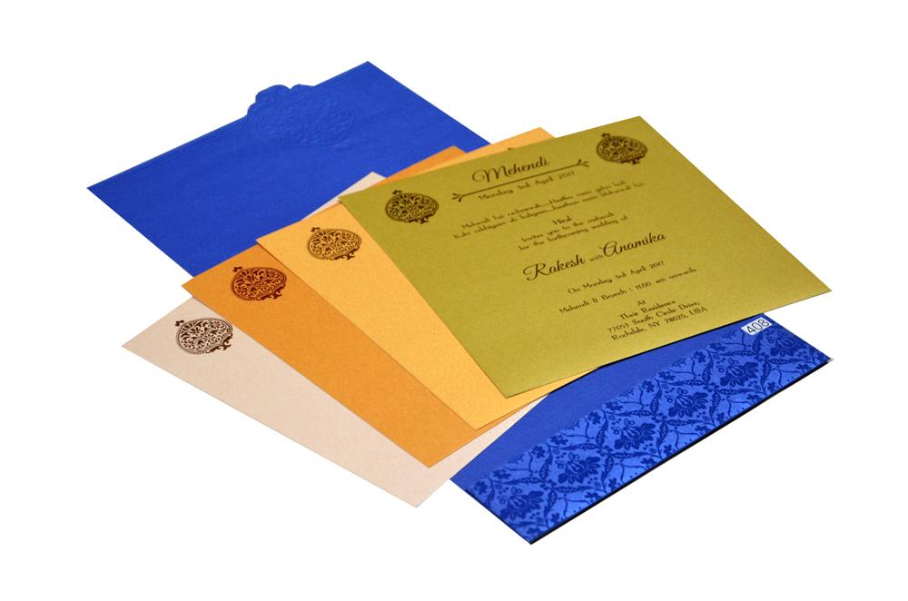 Blue Muslim Wedding Card PR 408