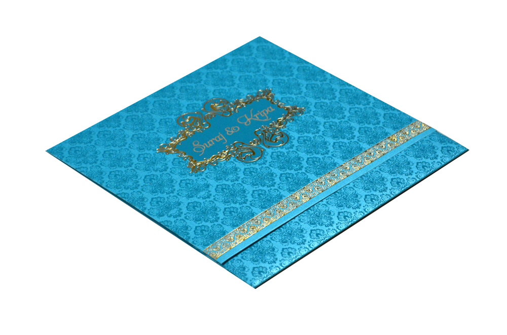 Turquoise Budget Wedding Card PR 424