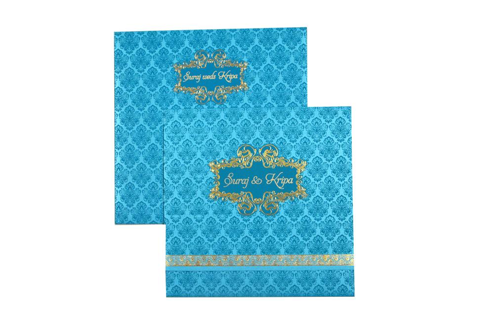 Turquoise Budget Wedding Card PR 424