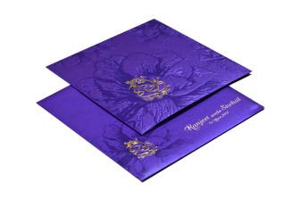 Purple Hindu Budget Wedding Card Design PR 426
