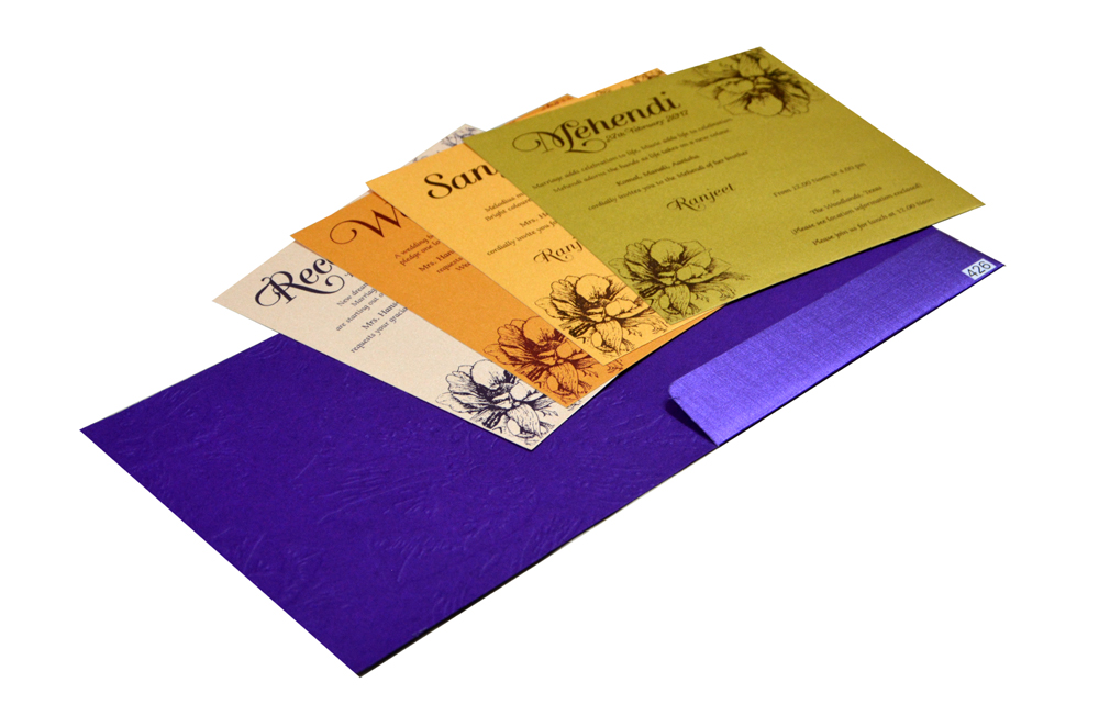Purple Hindu Budget Wedding Card Design PR 426