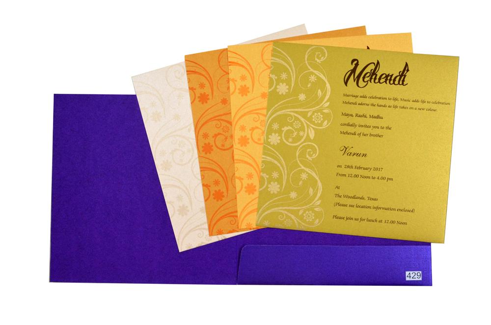 Purple Designer Budget Wedding Card PR 429
