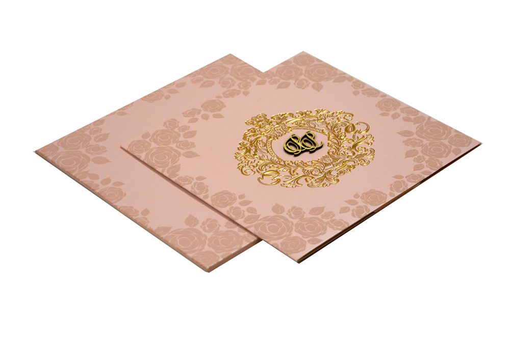 Peach Designer Wedding Card PR 446