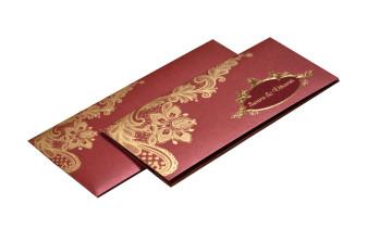 Maroon Budget Wedding Card PR 466