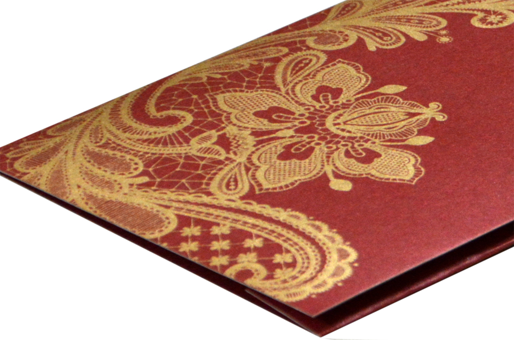 Maroon Budget Wedding Card PR 466