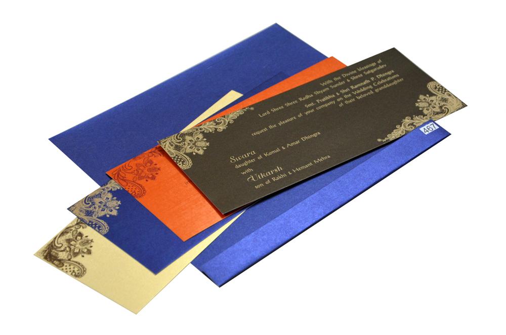 Blue Budget Wedding Card PR 467