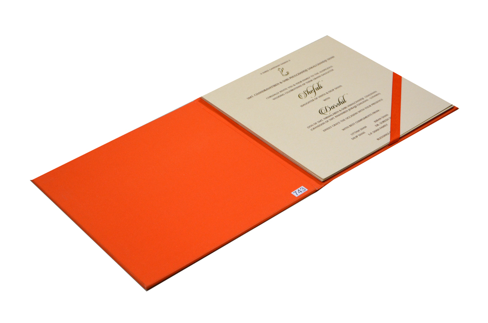 Orange Velvet Feel Paper Exclusive Wedding Card PR 743