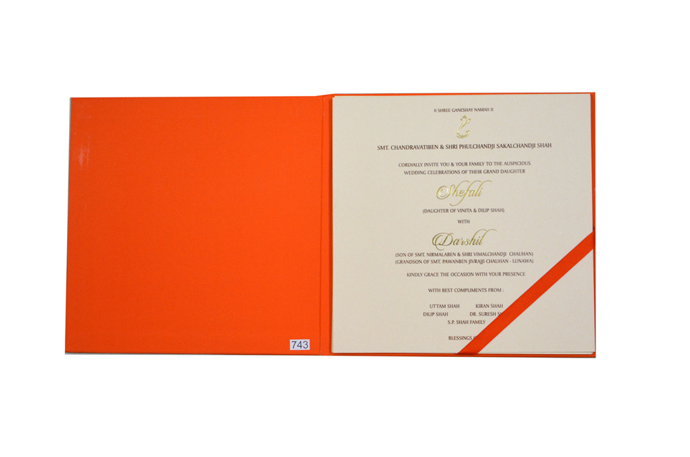 Orange Velvet Feel Paper Exclusive Wedding Card PR 743