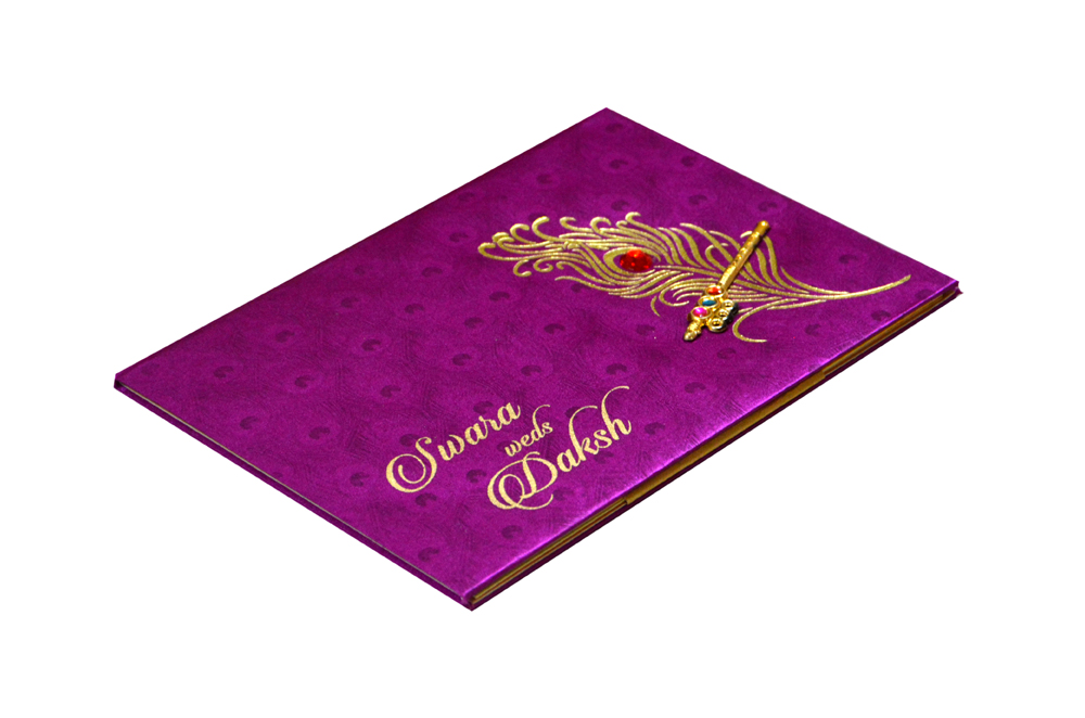 Pink Peacock Theme Wedding Card Design RB 1234 PINK