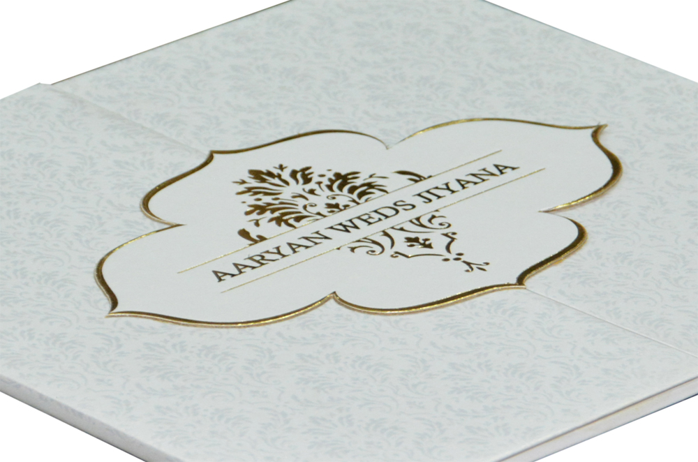 Two Fold Wedding Card Design RB 1408 WHITE