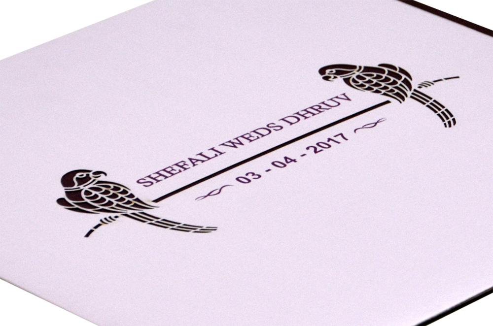 Parrot Theme Wedding Card RB 1416 LAVENDER