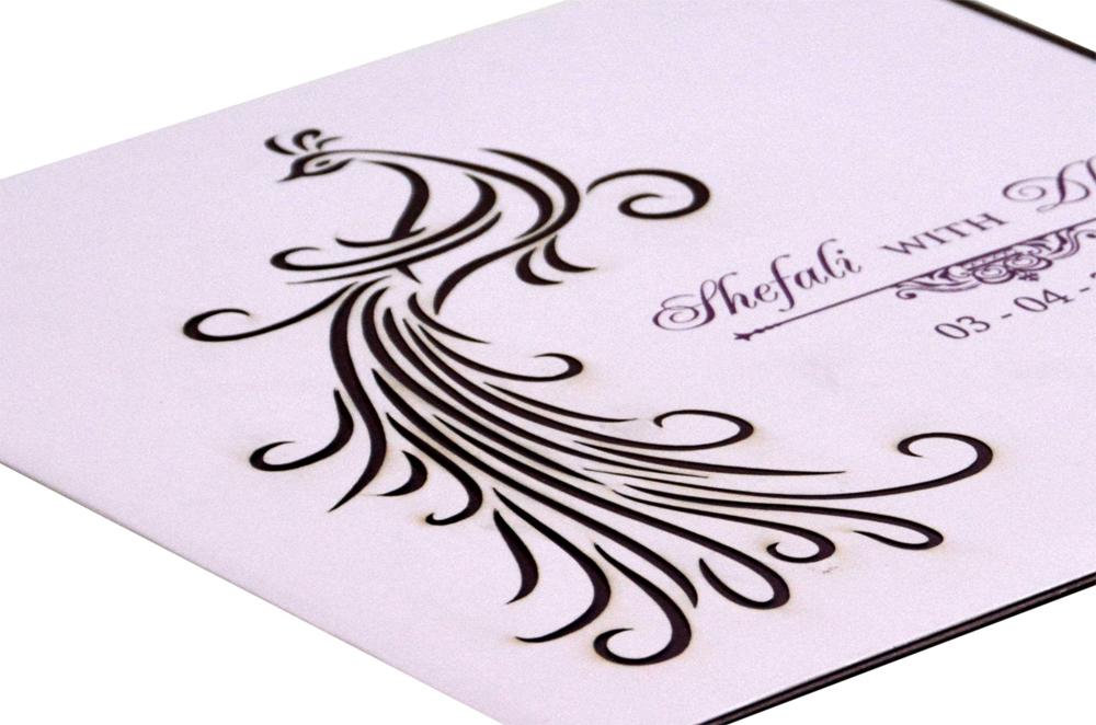 Peacock Theme Wedding Card RB 1420 LAVENDER