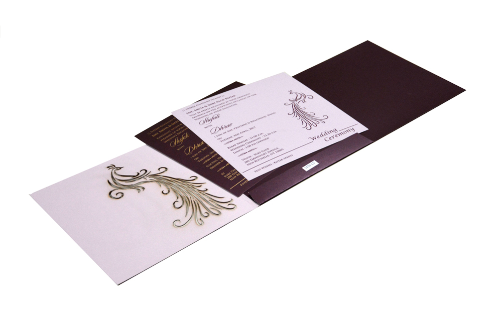 Peacock Theme Wedding Card RB 1420 LAVENDER