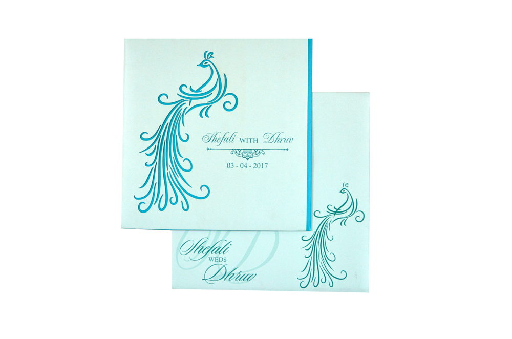 Peacock Theme Wedding Card RB 1420 PEACH