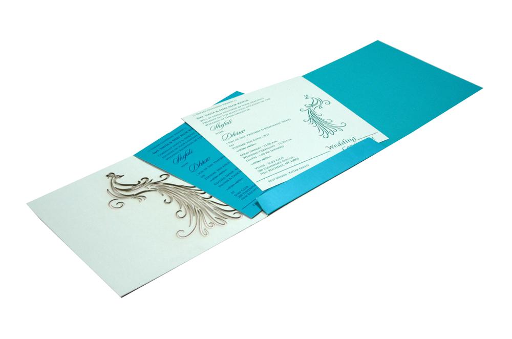 Peacock Theme Wedding Card RB 1420 PEACH