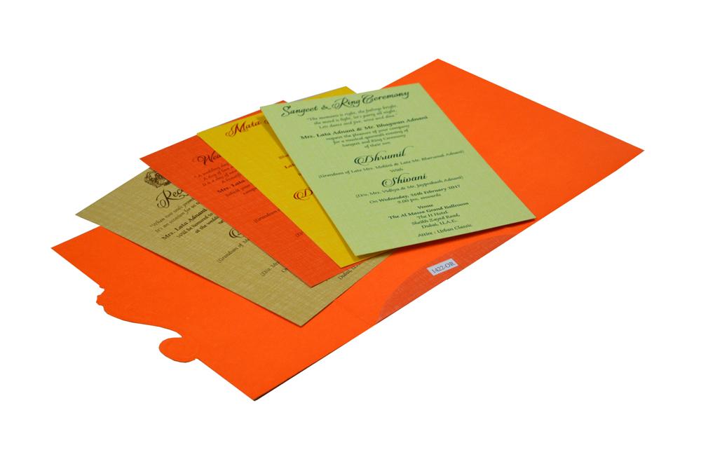 Orange Budget Hindu Wedding Card RB 1422 ORANGE