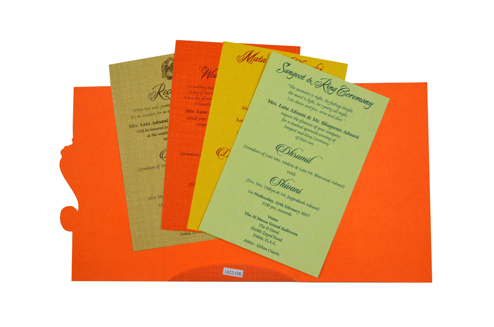 Orange Budget Hindu Wedding Card RB 1422 ORANGE