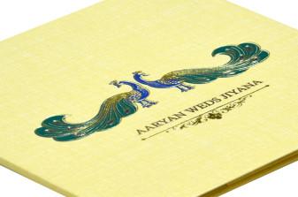 Peacock Theme Padded Wedding Card RB 1423 CREAM