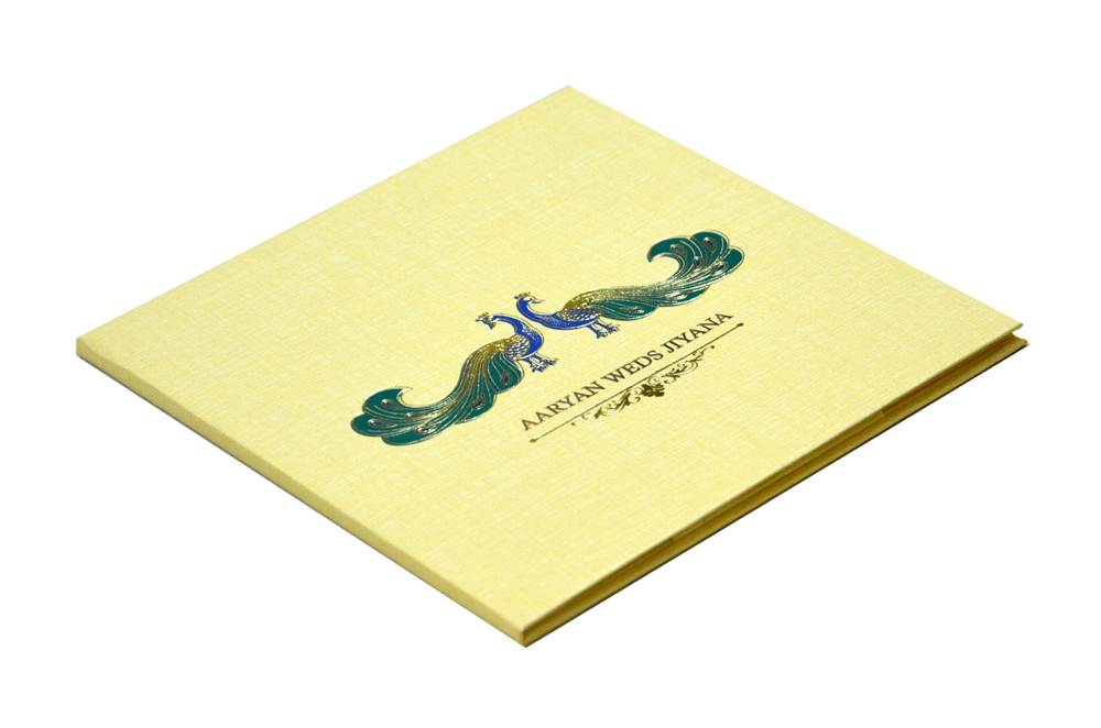 Peacock Theme Padded Wedding Card RB 1423 CREAM