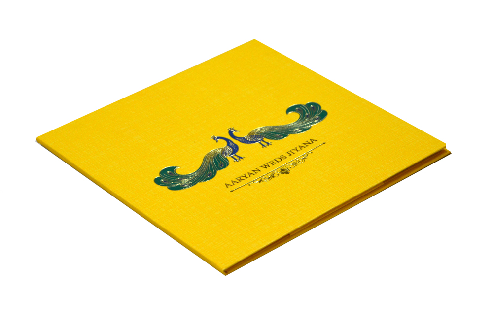 Peacock Theme Padded Wedding Card RB 1423 YELLOW