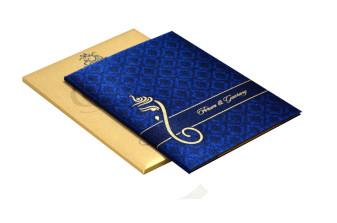 Hindu Satin Cloth Wedding Card RB 1426 BLUE