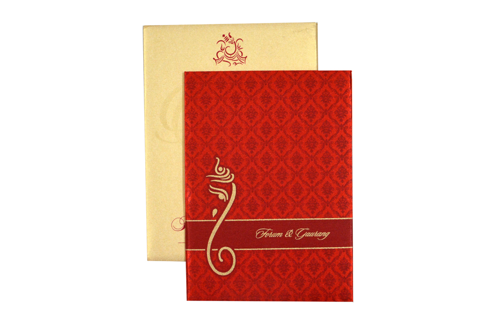 Hindu Satin Cloth Wedding Card RB 1426 RED