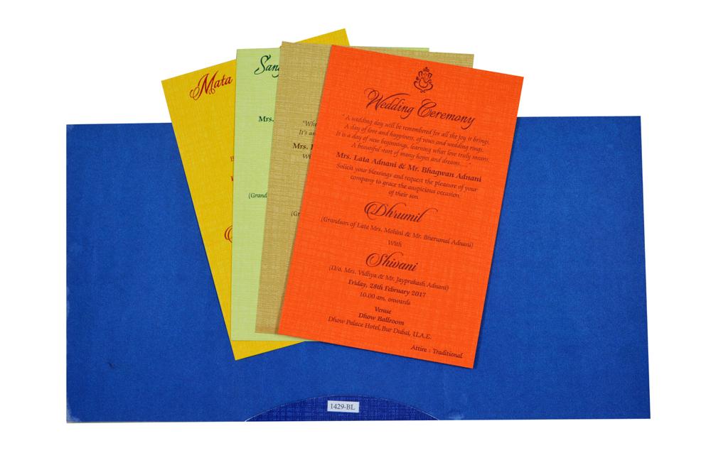 Blue Budget Wedding Card RB 1429 BLUE