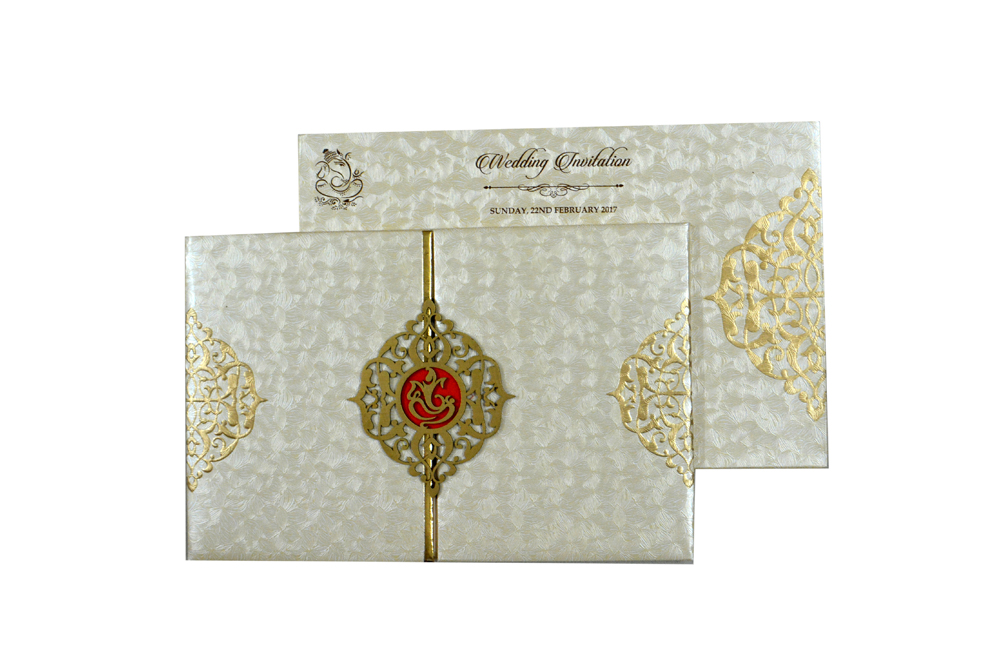 Two Fold Padded Wedding Card RB 1442 CREAM