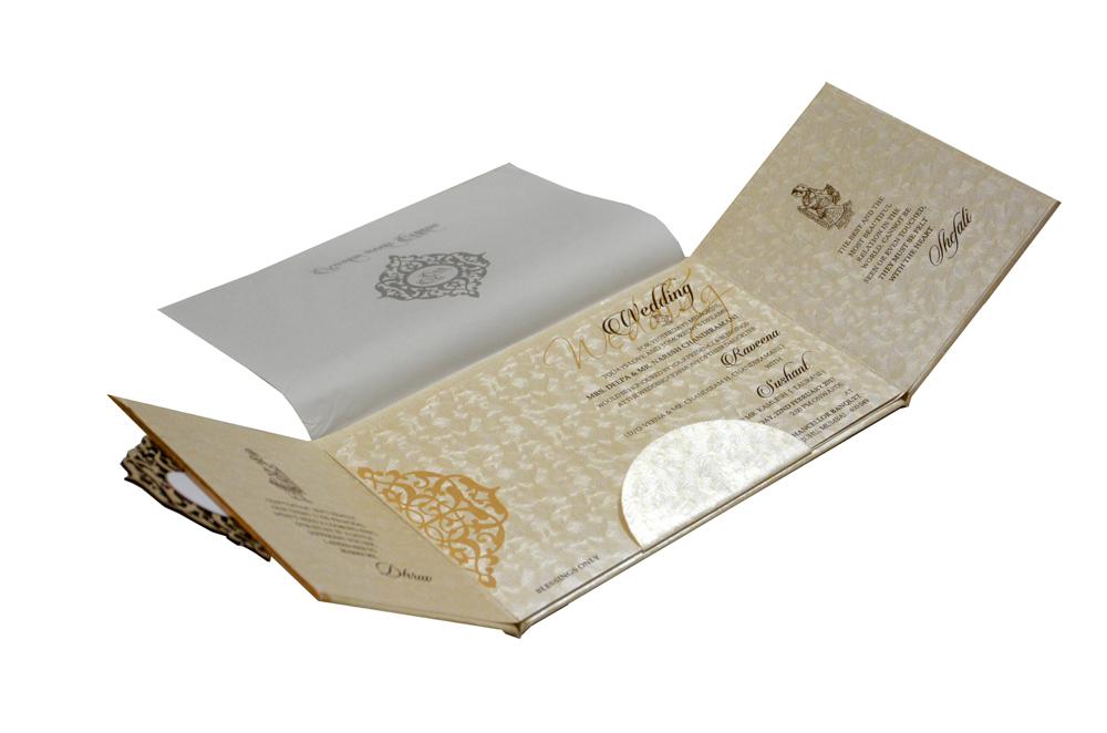 Two Fold Padded Wedding Card RB 1442 CREAM
