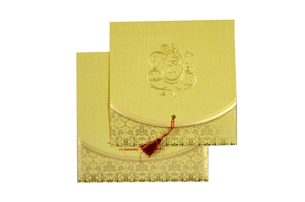 Budget Hindu Wedding Card Design RB 1459 CREAM